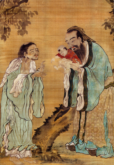 Confucius presenting the young Gautama Buddha to Laozi